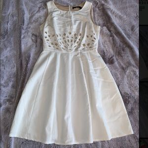 White, fully lined A-line dress.